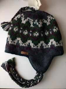New Kusan Earflap Beanie Hat 100% Wool Green/Purple
