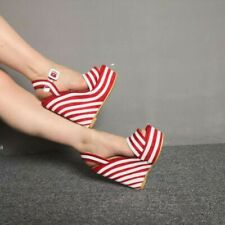 Women Wedges High Heels Clear Slingback Sandals Platform Stripped Casual Shoes