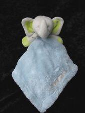 "Blankets Beyond Blue Green Gray Elephant Fluffy Lovey Security Blanket 16"" x 16"""