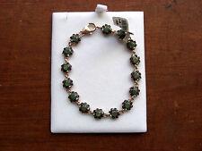 Bracciale in argento anticato con  smeraldi e pietre