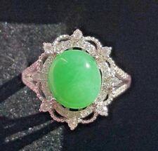 Genuine Bright Geen 3.5ct Jadeite Jade (Type A) 925 Silver Ring SIZE Adjustable