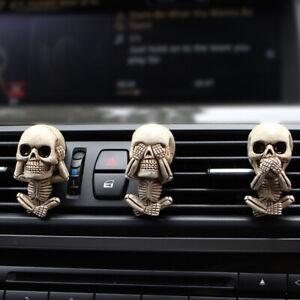 3Pcs Evil Skull Trio Statue Car Air Conditioning Outlet Clip Decorative Ornament