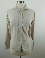LL Bean Womens Single Needle LS Button Down Brown Striped Blouse Dress Shirt 12