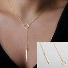 Fashion Womens Stunning Pendant Chain Circle Lariat Necklace Jewelry