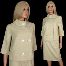 Vintage 60s MOD SKIRT SUIT Ecru Pencil Wiggle Jackie O Mid Century Modern Dress