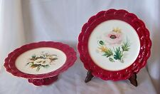 Two 19th Century English Dessert Pcs / Compote & Plate w Floral Motif