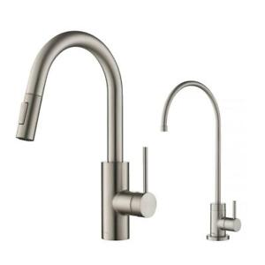 Oletto Kitchen Purita Water Filtration Faucet Combo Pull Down Stainless Steel