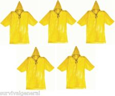 (5) Emergency Rain Poncho Survival Cheap Raincoat Bug Out Bag Doomsday EDC Pack