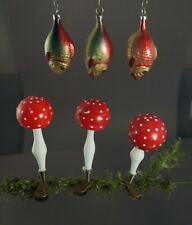 6 VINTAGE BLOWN GLASS ORNAMENTS MUSHROOM AND FISH  / Fly agaric   (# 11570)