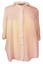 Polyester 3/4 Sleeve Collared Casual Tops & Shirts for Women