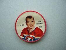 1961/62 SALADA FOODS / SHIRRIFF PLASTIC NHL HOCKEY COIN #103 DON MARSHALL NICE