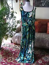 ROZ & ALI sz 24  Black Green & Teal Leaves Print Sleeveless Maxi Dress Stretch