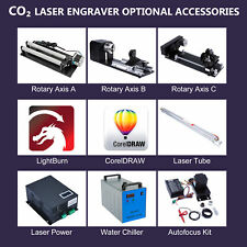 CO2 Laser Engraver Accessories -Rotary Axis Laser Power Chiller Tube Autofocus