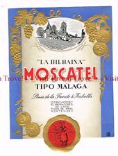 Unused 1940s URUGUAY Montevideo La Bilbaina Moscatel Tipo Malaga Label