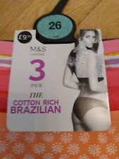 BNWT Ladies Size 26 M&S  (3 Pack) Pure Cotton Brazilian Knickers