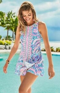 Lilly Pulitzer Donna Happy As A Clam Engineered Shift Dress Short Romper 14 16