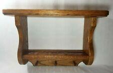 "Retro 16"" Long Vintage Oak Solid Wood Wall Shelf ~ Grooved Plate Display"