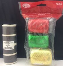 3 Kegs of Curling Ribbons Gold Red Green & Flame Resistant Serpentine Black