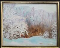 Vintage Oil Painting Winter Landscape by Canadian Artist Bruno Cavallo 1913-1996