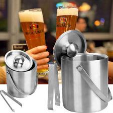 Große 2L Edelstahl Eiseimer mit Zange silber Eiswürfeleimer Eiswürfel-Behälter