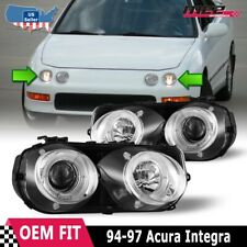 Fits 94-97 Acura Integra LED Halo Rings Projectors Chrome/Clear Headlights PAIR