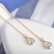 Earrings 9ct Gold Drop Round Diamond Threader Gift holiday Stunning Quality gf