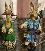 """Set of 2 Resin Country Bunny Figurines 9"""" Tall AWESOME!"""