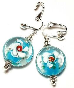 Large Silver Turquoise & White Clip-On Earrings Drop Dangle Glass Bead Artisan