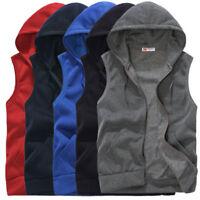 Men Zip Up Hooded Sweatshirt Casual Sleeveless Waistcoat Vest Sport Gym Tops