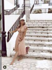 Zara Pink Rustic Linen Dress With Ruffle Trim Size L UK14 Bnwt