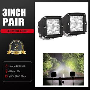 "Pair 3"" Osram LED Work Light Bar Spot Flood Cube Driving Fog Reverse Lamp 4WD"