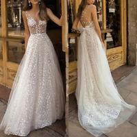 Women Lady Formal Wedding Maxi Long Dress Sheer V Neck Backless Sleeveless Dress
