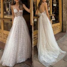 c1ebb066fb Women Lady Formal Wedding Maxi Long Dress Sheer V Neck Backless Sleeveless  Dress