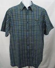 LL Bean Shirt Check Plaid Cotton Large Tall Short Sleeve Button Front sz LT VTG