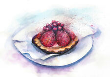 Strawberry Cake original painting kitchen watercolour room decor