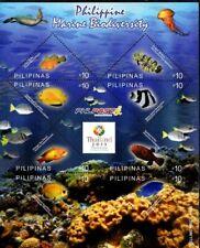 2013 Philippines Marine Biodiversity Fishes, Turtle overprint Bangkok  S/S NH