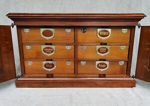 AMBERGS PATENT INDEX FILING CABINET IN MAHOGANY ANTIQUE 1880