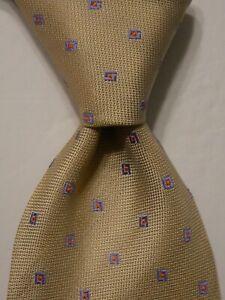 ERMENEGILDO ZEGNA Couture Silk Necktie ITALY Luxury Geometric Ivory/Purple EUC