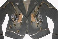 WEST 36th HVY Embellished Suede Gold Silver Sequins Beads Denim Jacket Wms S NWT
