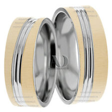 14K Two Tone Gold His & Her Matching Wedding Band Set 7mm