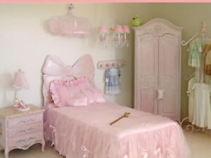 Twin Bow Headboard Handcarved out Of Solid Wood Pink Chic Finish.Ship Anywhere