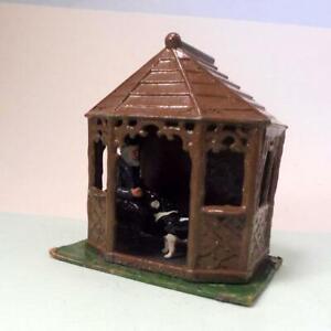 Vintage Lead Garden - Rustic Summer House + OLD MAN + DOG - BRITAINS JOHILL