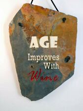 """Age Improves with Wine"" engraved slate home decor sign"
