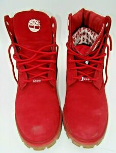 "Timberland Red 6"" Premium Boots Size 10.5 men Waterproof"