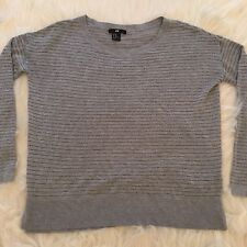 H&M Gray Metallic Striped Career Work Top Blouse Thin Light Sweater Womens XS LS