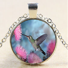 Pendant Necklace humming bird Photo Cabochon Glass Silver creative