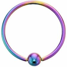 "Captive Lip Ear Ring Annealed 14 Gauge 3/8"" w/Fixed 4mm Ball Rainbow IP Body Jew"