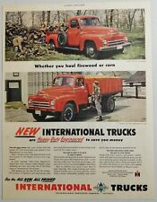 1950 Print Ad International Trucks Red Pickup & Combination Farm Body