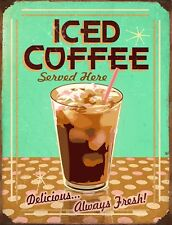 "TIN SIGN ""Iced Coffee"""" Caffeine Deco  Garage Wall Decor"