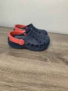 CROCS ICONIC BLUE AND RED UNISEX SHOES TODDLER SIze 8